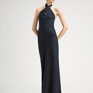 NWT Navy Halter Cutout High Slit Evening Long Gown